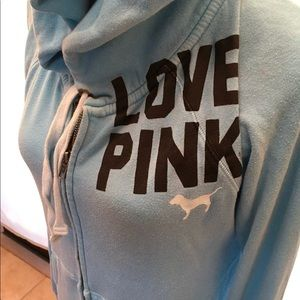 Pink Victoria Secret Blue Hooded Jacket